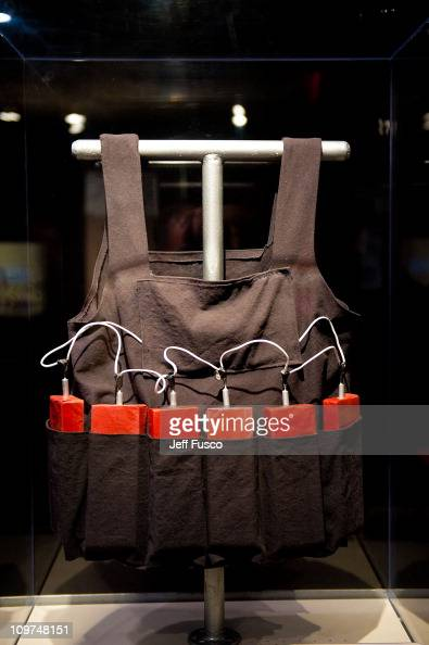 A replica of a suicide bombers vest is displayed at the 'Spies Traitors Saboteurs Fear Freedom In America' exhibition being held at the National...