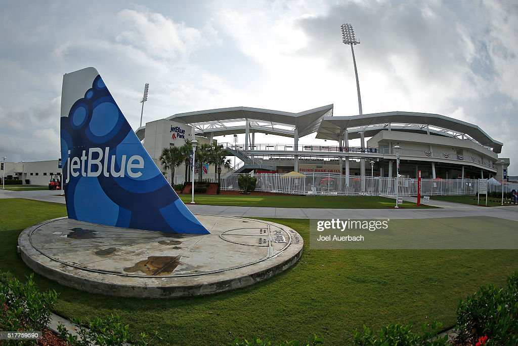 A replica of a tail from plane outside jetBlue Park prior to a spring training game between the Boston Red Sox and the Philadelphia Phillies on March 27, 2016 in Fort Myers, Florida.