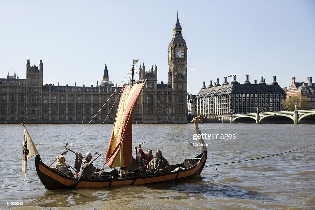 A replica of a Viking boat is towed on the river Thames past the Houses of Parliament on April 15, 2014 in London, England. The replica boat features in the live cinema broadcast of 'Vikings Live from the British Museum' on April 24, 2014 in 400 cinemas across the UK.
