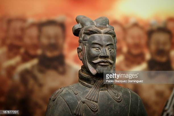 A replica of a Xian Warrior is on display at the 'Terracotta Army' exhibition in Villa's Cultural Center Fernan Gomez on November 13 2013 in Madrid...
