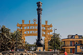 replica ashoka pillar sanchi gate at