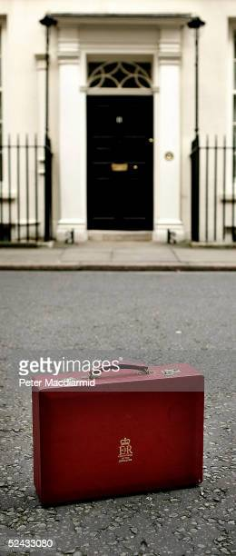 A replica of British Chancellor Gordon Brown's cabinet briefcase stands outside number 11 Downing Street on March 16 2005 in London The Chancellor...