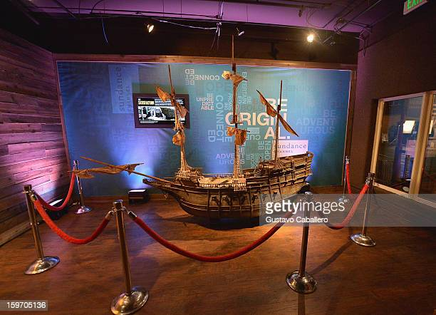 A replica of Henry Morgan's flagship The Satisfaction is on display at an exclusive screening of The Unsinkable Henry Morgan at Sundance Film...