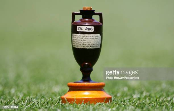 A replica of the Ashes urn sits on the outfield of the Gabba the day before the start of the 1st Test match between Australia and England at Brisbane...
