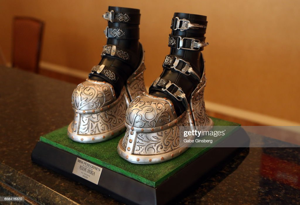 A replica of the boots worn by the character Emma in the movie 'Miss Peregrine's Home for Peculiar Children' is displayed for auction during CinemaCon at Caesars Palace on March 27, 2017 in Las Vegas, United States.