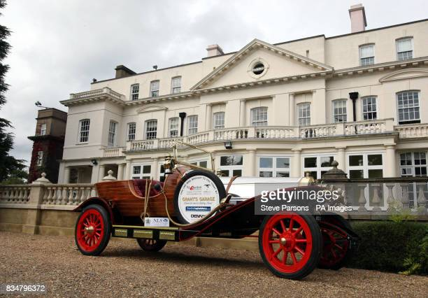 A replica of the car from Chitty Chitty Bang Bang built by Gordon Grant from Glasgow Scotland sits outside Pinewood Studio's Heatherden Hall in Iver...