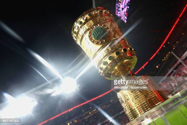 The Germany Cup winners trophy is displayed prior to the DFB Cup quarter final between Bayern Muenchen and FC Schalke 04 at Allianz Arena on March 1...
