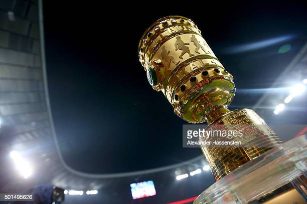 The German Cup winners trophy is displayed prior to the round of 16 DFB Cup match between FC Bayern Muenchen and Darmstadt 98 at Allianz Arena on...