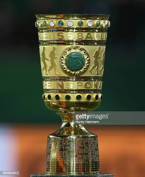 The trophy is pictured prior to the DFB Cup second round match between VfL Wolfsburg and FC Bayern Muenchen at Volkswagen Arena on October 27 2015 in...
