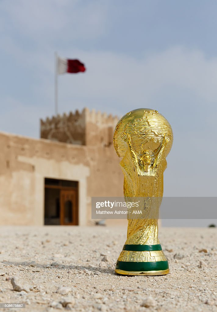 A replica of the FIFA World Cup Trophy at the Al Zubarah Fort, a UNESCO World Heritage Site, in Madinat ash Shamal, Qatar. The country of Qatar is the host nation for the FIFA 2022 World Cup on January 25, 2016 in Qatar.