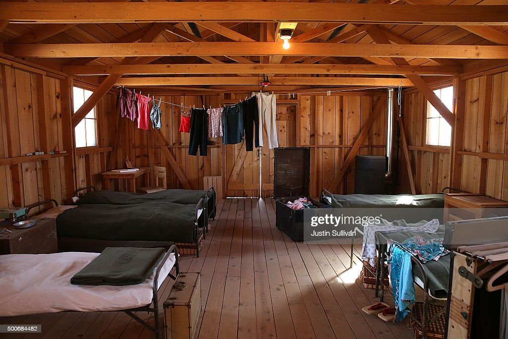 A replica of the interior of internment camp barracks is shown at Manzanar National Historic Site on December 9 2015 near Independence California...