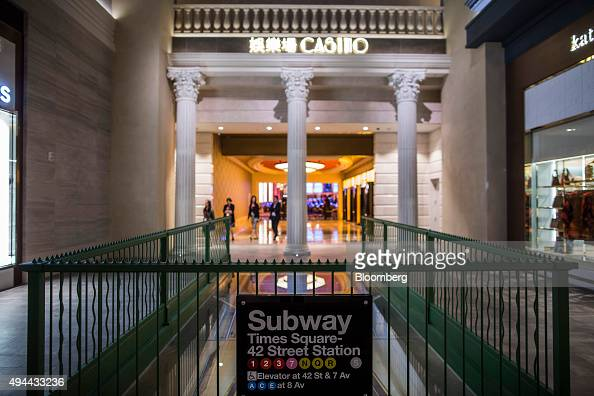 A replica of the New York Times Square subway station exit stands in front of an entrance to the casino floor at Studio City casino resort developed...