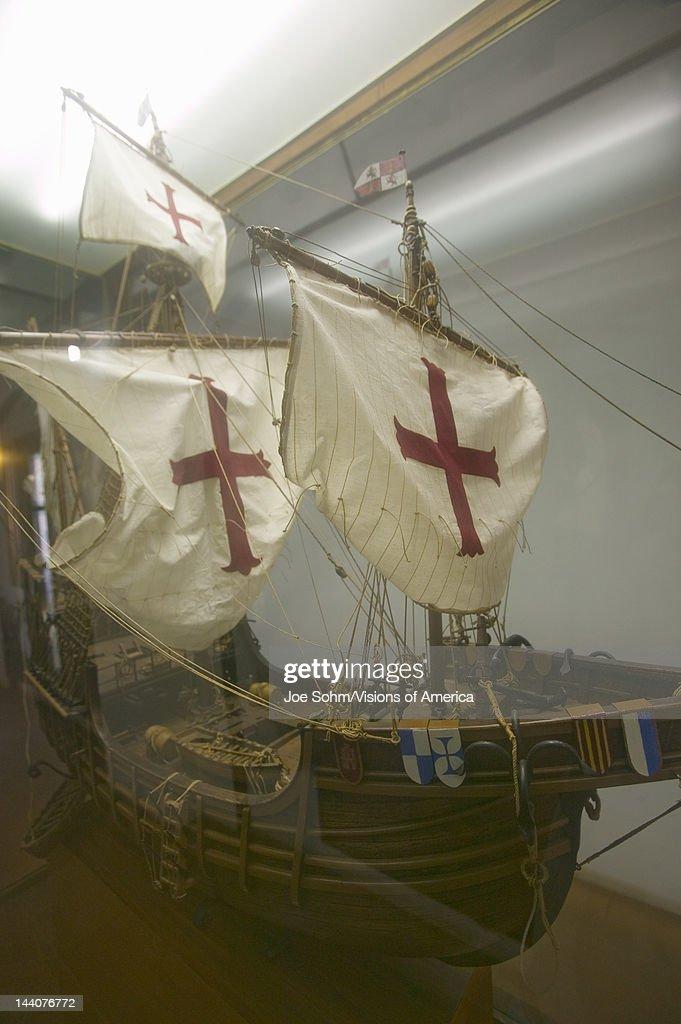 A replica of the Santa Maria sailing ship at 15thcentury Franciscan Monasterio de Santa María de la Rábida Palos de la Frontera a Heritage of Mankind...