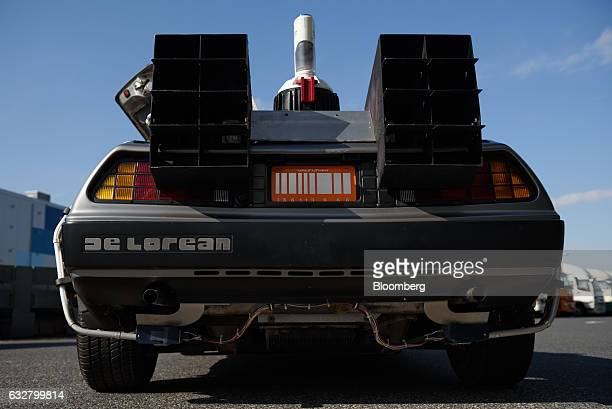 A replica of the timetraveling DeLorean featured in the film 'Back to the Future' owned by Jeplan Inc sits for a photograph in Tokyo Japan on...