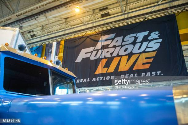 A replica of the truck from the final stunt scene in The Fast and The Furious that will be used in the show seen during the 'Fast Furious Live' media...