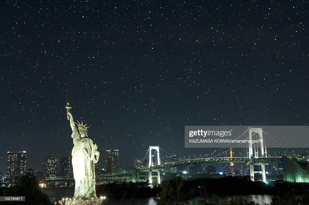 Replica Statue Of Liberty And The Rainbow Bridge By Night Minato Ward Tokyo P...