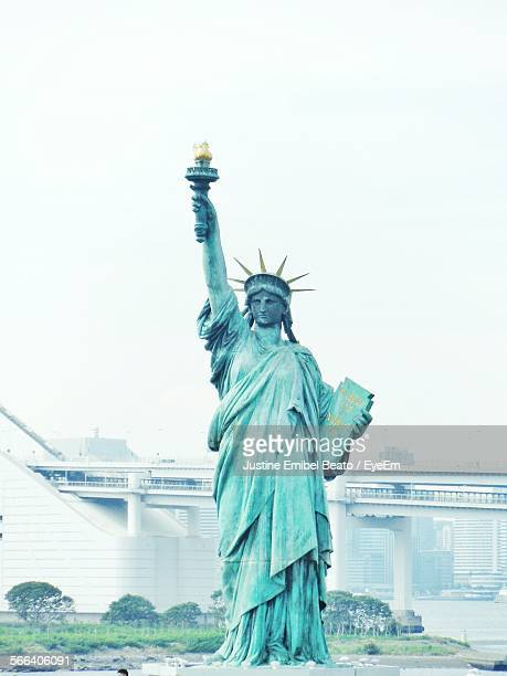 Replica Statue Of Liberty At Odaiba Against Clear Sky