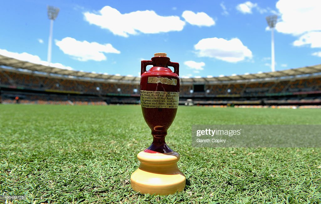 A replica urn sits on the outfield of The Gabba on November 19, 2013 in Brisbane, Australia.
