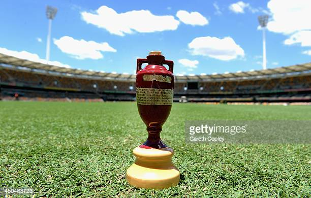 A replica urn sits on the outfield of The Gabba on November 19 2013 in Brisbane Australia