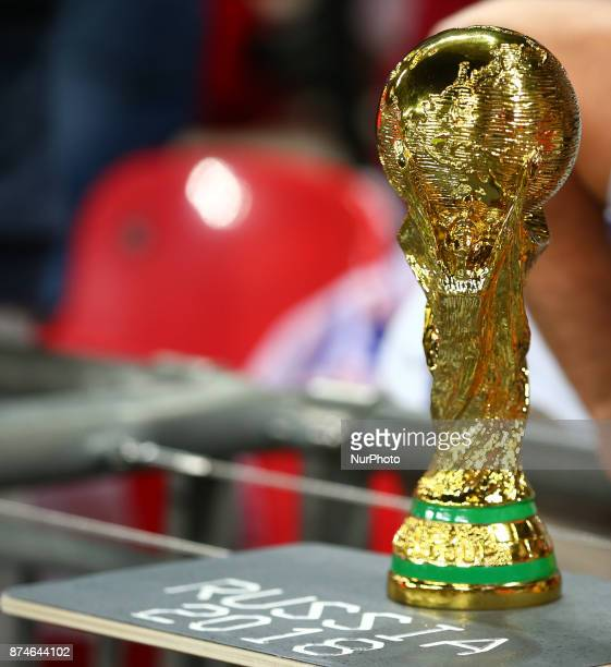 Replica World Cup during International Friendly match between England and Brazil at Wembley stadium London on 14 Nov 2017