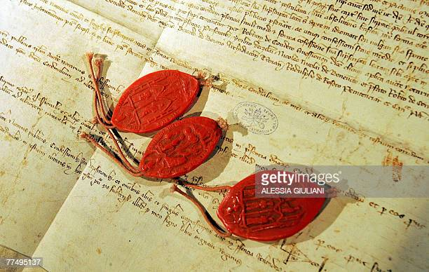 Replicas of the three seals used by inquisitors at the trial 700 years ago in which Pope Clement V absolved the Knights Templar of charges of heresy...