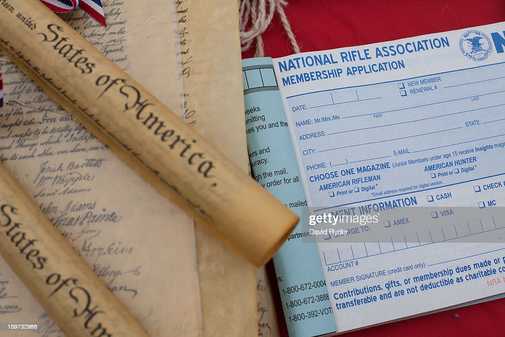 Replicas of the U.S. Constitution are pictured next to a membership application form for the National Rifle Association during a pro-gun rally on January 19, 2013 in Olympia, Washington. The Guns Across America national campaign drew thousands of protesters to state capitols, including over 1,000 in Olympia.
