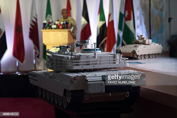 TIMBERLAKE Replicas of UAE armed forces' vehicles are displayed during the daily media briefing on Operation Decisive Storm the Saudiled coalition...