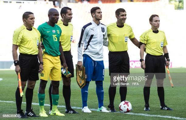 Repo Malepe of South Africa and Rolando Mandragora of Italy pose for a picture with the referees during the FIFA U20 World Cup Korea Republic 2017...