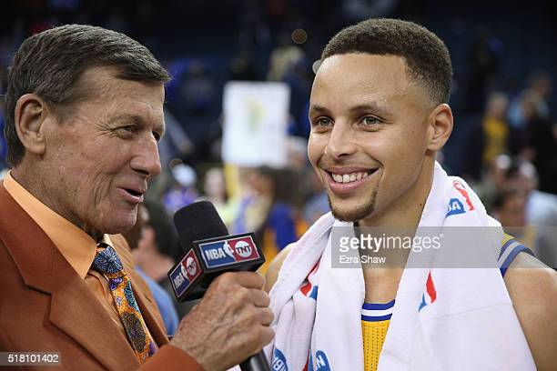 TNT report Craig Sager interviews Stephen Curry of the Golden State Warriors after their game against the Washington Wizards at ORACLE Arena on March...