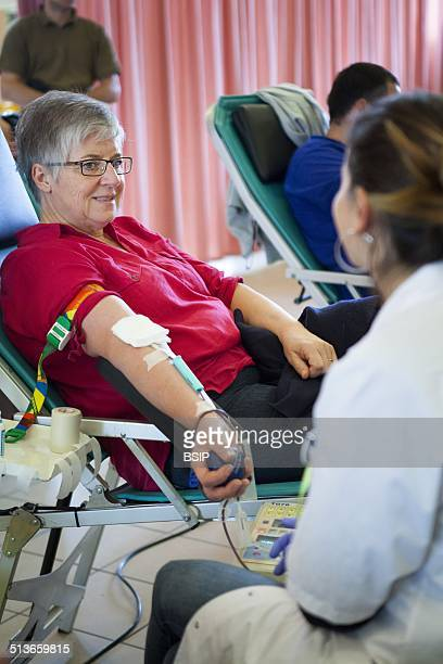 Reportage at a French Blood Establishment blood donation session in HauteSavoie France