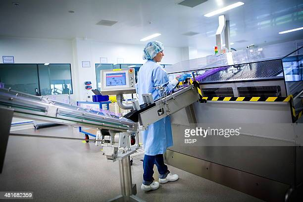Reportage at LEO Pharma's pharmaceutical manufacturing plant in Vernouillet France Manufacture of injectable products in prefilled syringes