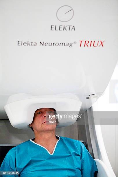 Reportage at the Neuroimaging research centre in Pitie Salpetriere hospital in Paris France Magnetoencephalography platform MEG detects variations in...