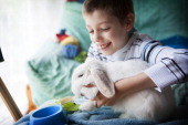 Reportage on a zootherapy psychologist practising in the IledeFrance region of France Zootherapy session for a 10year old boy suffering from Asperger...