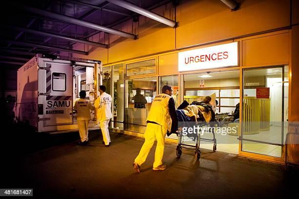 Reportage on Robert Ballanger Hospital's emergency medical team in AulnaySousBois France Arriving at AE