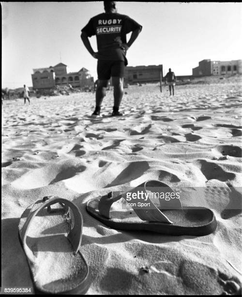 2005 Reportage sur le rugby au Senegal Entrainement sur la plage de Yoff de l'equipe des Djembars Hassan 3eme ligne
