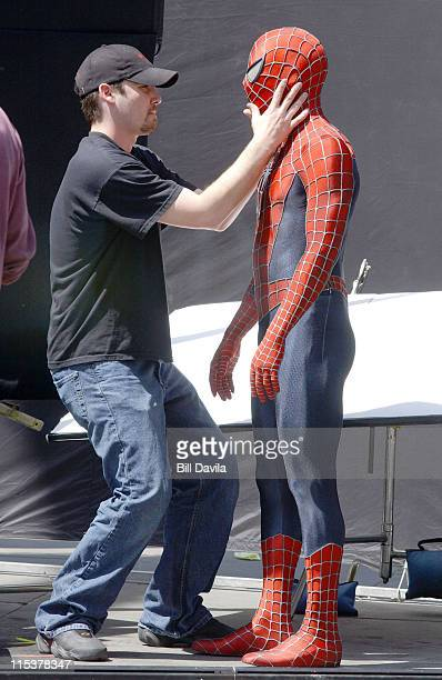 reportedly Tobey Maguire as SpiderMan during 'SpiderMan 2' on Location at New York City Hall April 19 2003 at Lower Manhattan in New York New York...