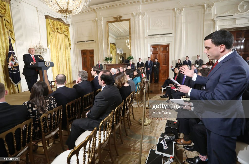 A reporter asks a question to U.S. President Donald Trump during a news conference announcing Alexander Acosta as the new Labor Secretary nominee in the East Room at the White House on February 16, 2017 in Washington, DC. The announcement comes a day after Andrew Puzder withdrew his nomination.