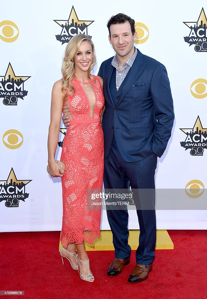 Reporter Candice Crawford and professional football player Tony Romo attend the 50th Academy of Country Music Awards at ATT Stadium on April 19 2015...