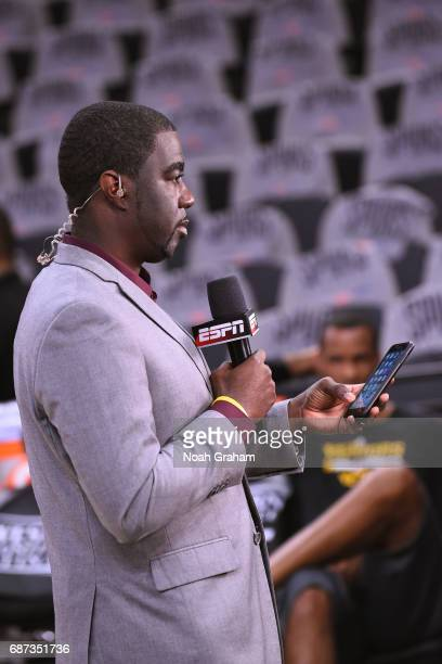 Reporter Chris Haynes works on camera before Game Four of the Western Conference Finals between the Golden State Warriors and the San Antonio Spurs...