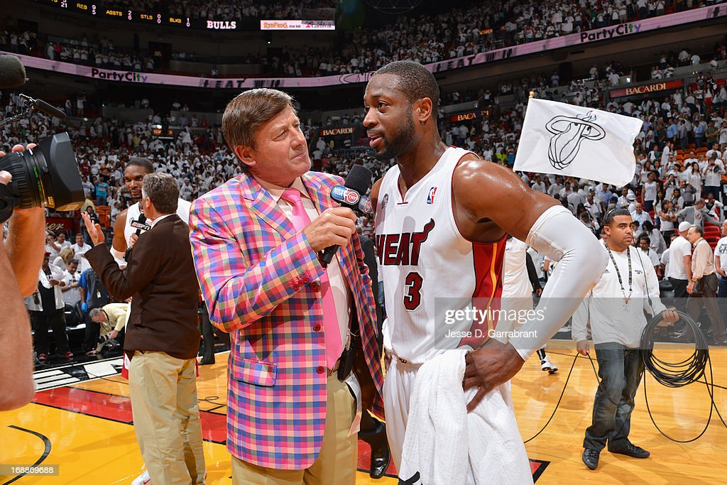 TNT reporter Craig Sager interviews Dwyane Wade #3 of the Miami Heat after the game against the Chicago Bulls in Game Five of the Eastern Conference Semifinals during the 2013 NBA Playoffs on May 15, 2013 at American Airlines Arena in Miami, Florida.