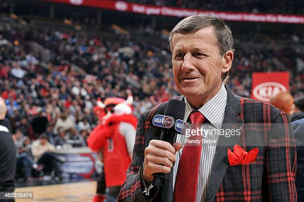 Reporter Craig Sager reports after a game between the Oklahoma City Thunder and Chicago Bulls on March 5 2015 at the United Center in Chicago...