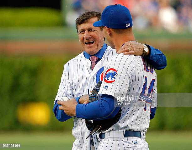 NBA reporter Craig Sager smiles as he takls with Anthony Rizzo of the Chicago Cubs after throwing out a ceremonial first pitch before the game...