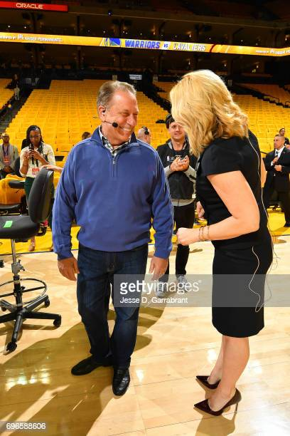 Reporter Doris Burke talks with Michigan State's men's basketball head coach Tom Izzo before Game One of the 2017 NBA Finals between the Cleveland...