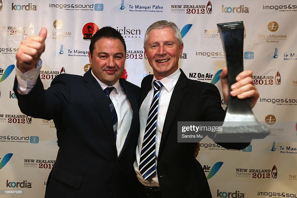 Reporter Duncan Garner (L) and Mark Jennings, Head of TV3 News and Current Affairs poses with their award for Best Scheduled News Programme during the New Zealand Television Awards at the Langham Hotel on November 3, 2012 in Auckland, New Zealand.