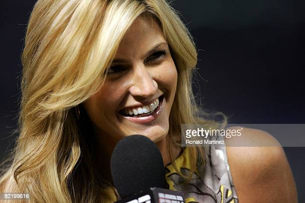 ESPN reporter Erin Andrews during a game between the New York Yankees and the Texas Rangers on August 6 2008 at Rangers Ballpark in Arlington Texas