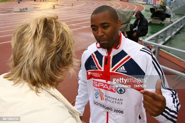 BBC reporter Hazel Irvine talks to BBC's Hazel Irvine after winning gold in the 4x100m relay