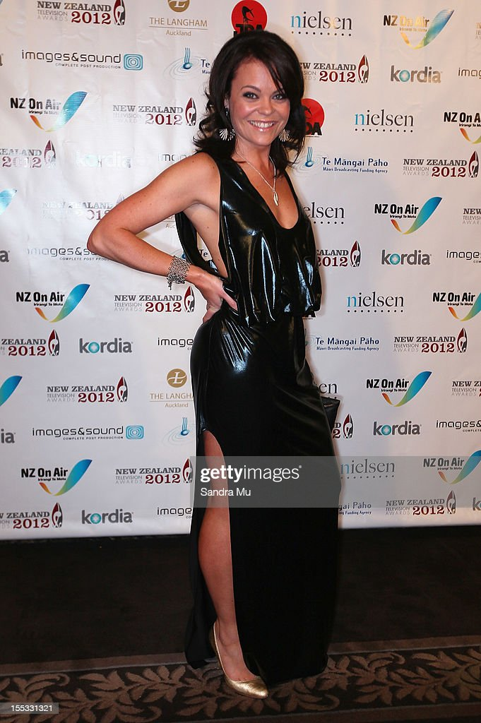 Reporter Heather du Plessis Allan poses as she arrives for the New Zealand Television Awards at the Langham Hotel on November 3, 2012 in Auckland, New Zealand.