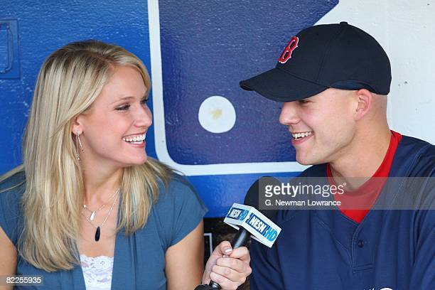 NESN reporter Heidi Watney interviews Justin Masterson of the Boston Red Sox prior to action against the Kansas City Royals on August 5 2008 at...