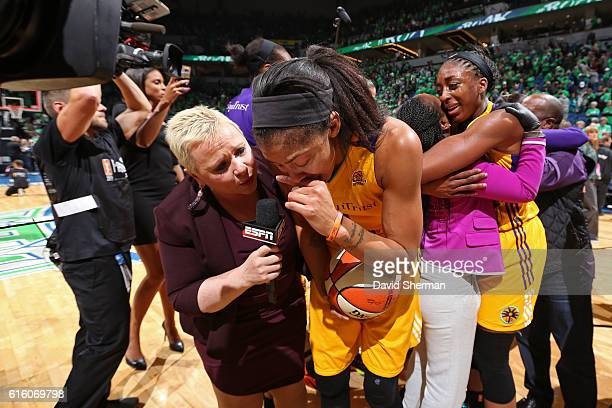 Reporter Holly Rowe interviews Candace Parker of the Los Angeles Sparks after Game Five of the 2016 WNBA Finals against the Minnesota Lynx on October...