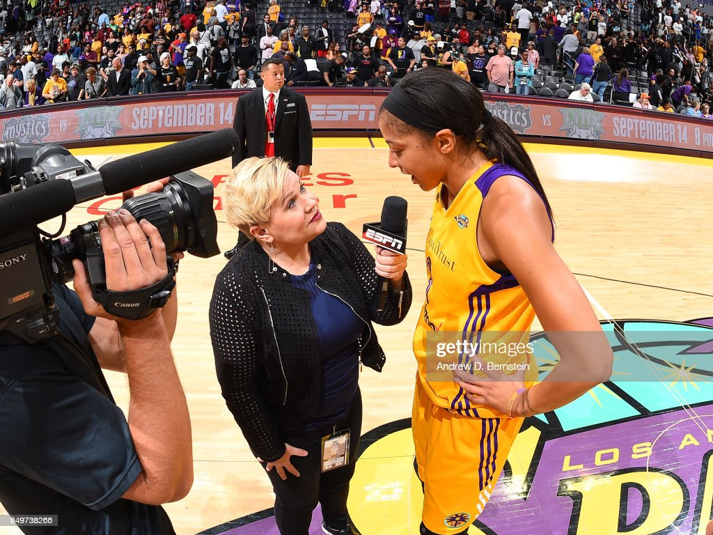 Reporter Holly Rowe interviews Candace Parker #3 of the Los Angeles Sparks after the game against the Phoenix Mercury in Game One of the Semifinals during the 2017 WNBA Playoffs on September 12, 2017 at STAPLES Center in Los Angeles, California.